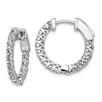 925 Sterling Silver Polished Prong set Safety clasp Rhodium plated Rhodium Plated With CZ Cubic Zirconia Simulated Diamo