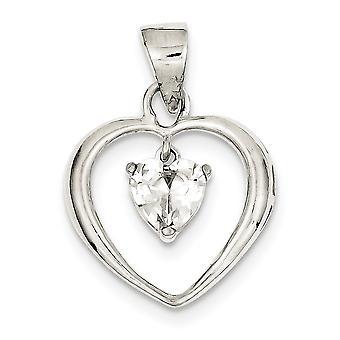925 Sterling Argento lucidato Cubic zirconia cuore ciondolo