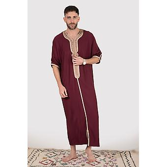 Gandoura imrane men's short sleeve contrast embroidery full-length robe casual thobe in burgundy