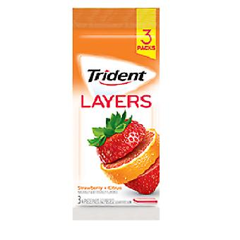 Trident Layers Erdbeere Citrus (3-Pack), 14-Sticks pro Packung