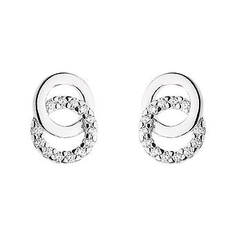 Dew Sterling Silver Double Cubic Zirconia Circle Stud Earrings 3820CZ022
