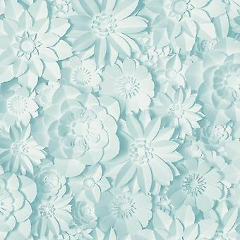 3D Effect Floral Wallpaper Flowers Light Blue Washable Fine Decor Dimensions