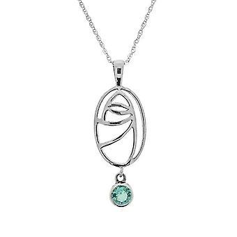 Charles Rennie Mackintosh Art Nouveau Crm Glasgow Rose Necklace Pendant - Aquamarine Stone - Includes a 18