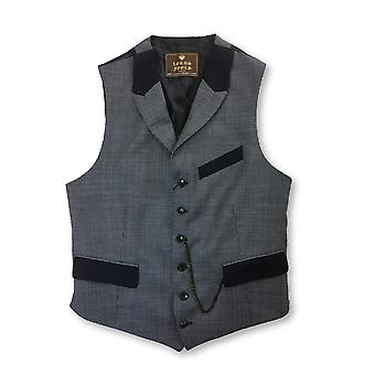 Lords & Fools waistcoat in navy/white hounds tooth check