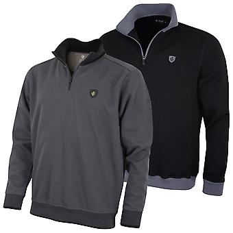 Island Green Mens Golf Half Zip Double Knit Thermal Sweater