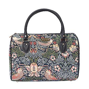 William morris - strawberry thief blue travel bag by signare tapestry / trav-stbl