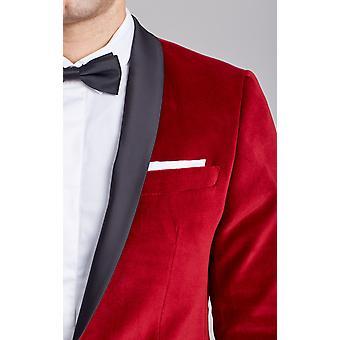 رجل Dobell الأحمر المخملية البدلة الرسمية سترة عادية تناسب التباين شال طية صدر السترة