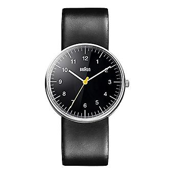 Braun Mens analog quartz watch with leather band BN0021BKBKG