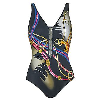 Sunflair 22311-910 Femmes-apos;s Shades of Palms Black Multicolor Soft Cup High Back Maillot de bain