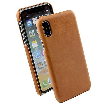 For iPhone XS,X Case,Elegant High-Quality Genuine Protective Leather Cover,Brown