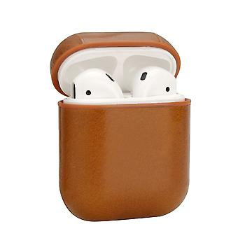 For Apple AirPods 1/2 Case Genuine Leather Shockproof Box, Oil Wax Pattern Brown