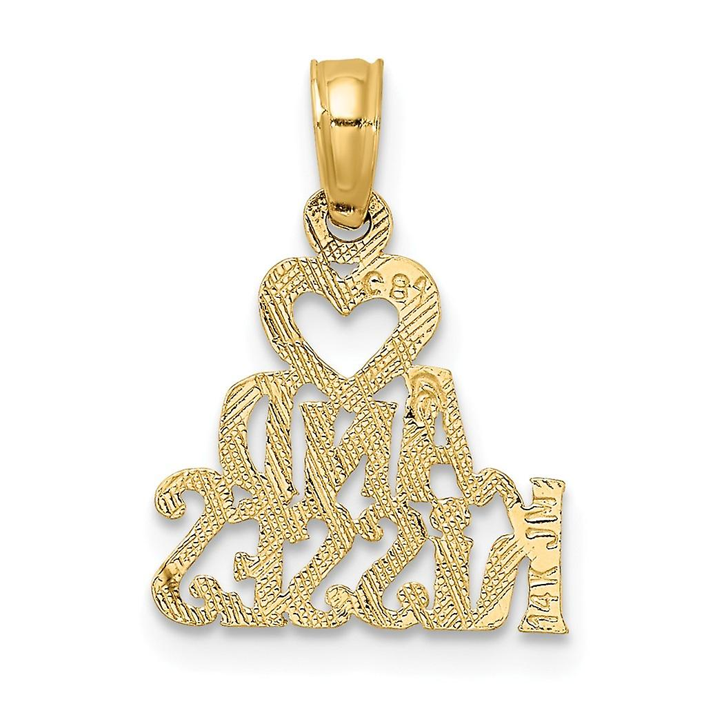 14k Gold Hug and Kisses Pendant Necklace Jewelry Gifts for Women - .6 Grams
