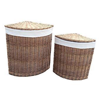 Conjunto de 2 cestas de lavadero luz esquina al vapor con forro blanco