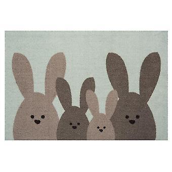 Diseño Doormat Dirt Trap Mat Bunny Family Mint Verde Marrón Decoración Pascua 40x60 cm
