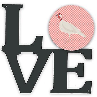 Cintura di bianco bianco Tacchino Gallina Rosa Check Metal Wall Love