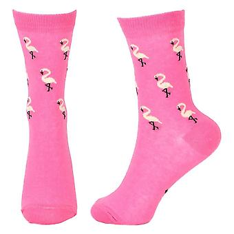 Women's Flamingo Pink and White Novelty Crew Socks