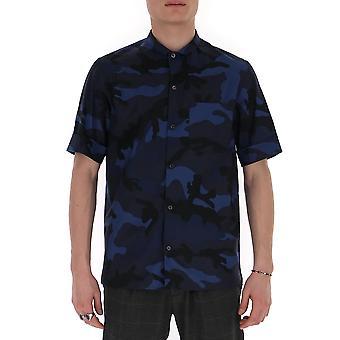 Valentino Tv3aa7695u913l Men's Camouflage Baumwollhemd