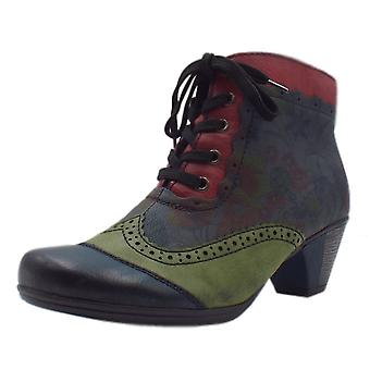 Rieker Y7213-15 Telula Fashion Fleece Lined Floral Boots In Navy Mix