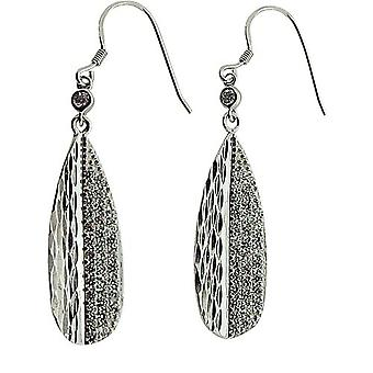 TOC Sterling Silver CZ Set Textured Tear Drop Earrings