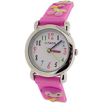 Citron Analogue Kids-Girls Little Girl Design Pink Silicone Strap Watch KID045