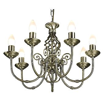 7 Light Antique Brass Classic Knot Twist Chandelier Ceiling Light Fitting