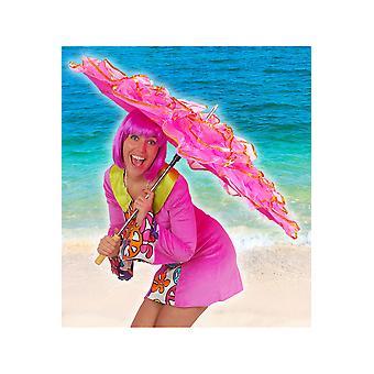 Hawai y tropical sombrilla con flecos de lujo caliente de color rosa