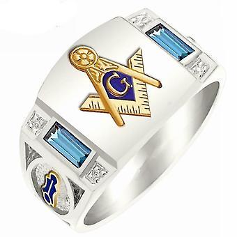 Zirconia masonic silver ring