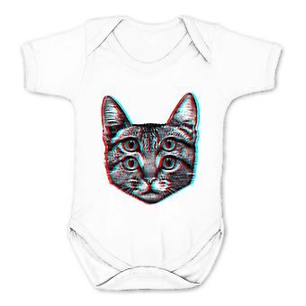 Reality glitch 3d cat kids babygrow