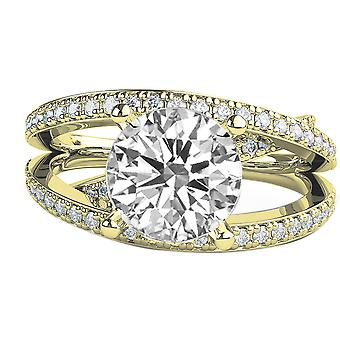 1.8 karat E SI2 diamant Engagement Ring 14K gul guld kabale w accenter Multi Band rundt