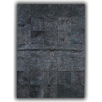 Rugs -Patchwork Leather Cubed Cowhide - Croco Black D35