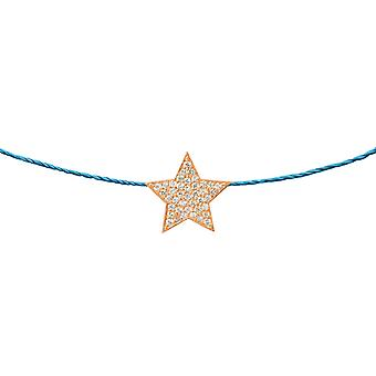 Choker Star 18K Gold and Diamonds, on Thread - Rose Gold, Turquoise