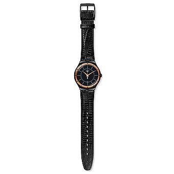 Swatch YWB403  Unisex Black Leather 41MM Quartz Analog Watch