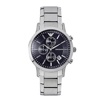 Armani Watches Ar11164 Chronograph Silver And Blue Stainless Steel Men's Watch