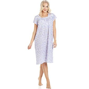 Camille Blue Floral White Short Sleeve Nightdress