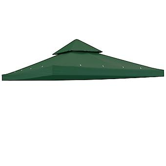 "Yescom 117""x117"" Canopy Top Replacement Y00397T04 Green for Smaller 10'x10' Dual-Tier Gazebo Cover Patio Garden Outdoor"