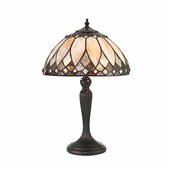 2 Light Small Table Lampe Dunkle Bronze, Tiffany Glas
