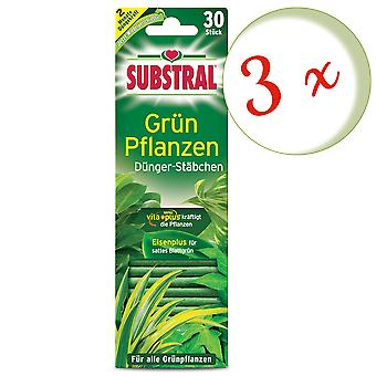 Sparset: 3 x SUBSTRAL® fertilizer rods for green plants, 30 pieces