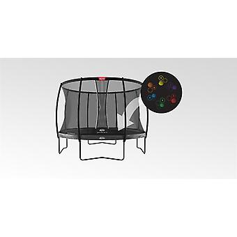 berg elite regular trampoline 430 14ft grey levels + safety net dlx xl