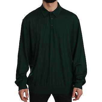Dolce & Gabbana Green Cashmere Long Sleeve Pullover Sweater