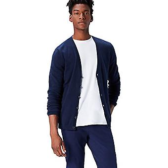 find. Men's Cotton Button Down Cardigan Sweater, Blue (Navy), Small
