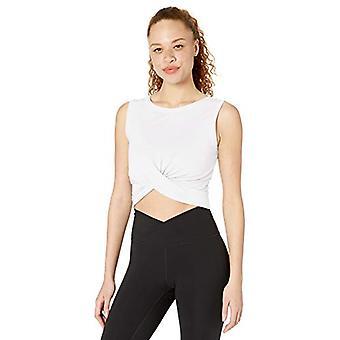 Core 10 Women's Pima Cotton Blend Knot Front Cropped Yoga Tank, Blanc, Large
