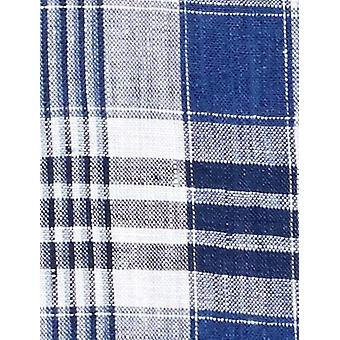 """BUTTONED DOWN Men's Classic Fit Spread-Collar Casual Linen Cotton Shirt, Dark Blue/White Plaid, 19-19.5"""" Neck 38-39"""" Sleeve (Big and Tall)"""
