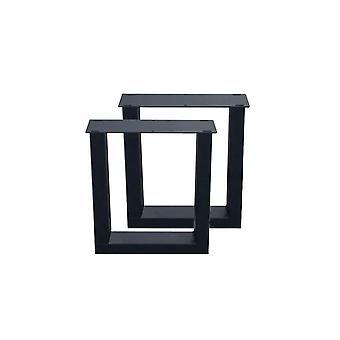 Sett svart U bordben 40 cm (rør 10 x 4) (1 stk. )