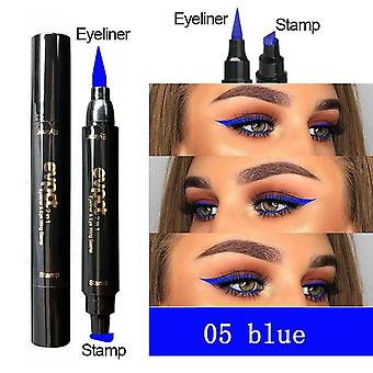 2 In 1 Liquid Matte Eyeliner Stamp Pen Colorful - Thin Wing Seal Black Glitter