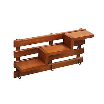 Solid Wood Stair Hook Shelf  Wall Storage Rack Copper