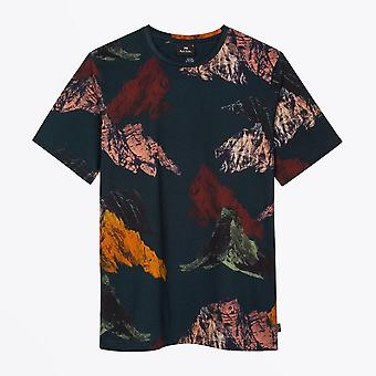 PS Paul Smith  - 'Mountain' Print T-shirt - Navy