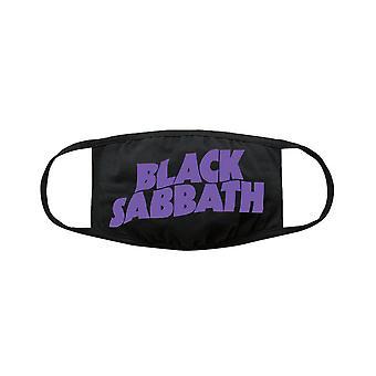 Svart sabbat wavy logo bomull ansiktsmask