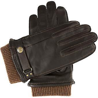 Bruine warmgelijnde leren handschoenen