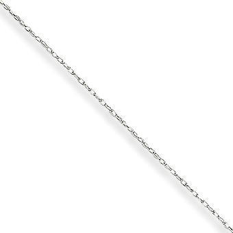 14k Beyaz Altın .5 mm Kartlı Kablo Halat Zincir Kolye - Uzunluk: 13-24