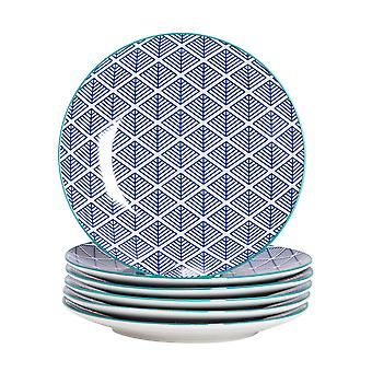 Nicola Spring 6 Piece Geometric Patterned Side Plate Set - Small Porcelain Dining Plates - Navy Blue - 19cm